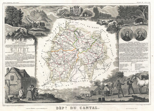 1852 Levasseur Map of the Department Du Cantal, France (Cantal Cheese Region)