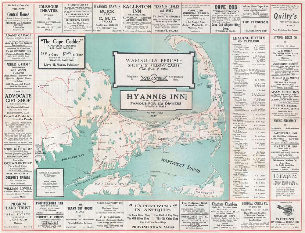 1925 Map of Cape Cod Framed by Local Advertisements