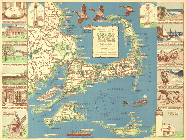 General Edition Decorative  Map of Cape Cod. The Reaches of the Cape . . . Nantucket and Martha's Vineyard. - Main View