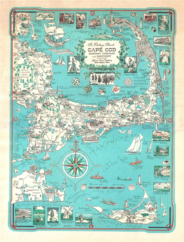 Picture Chart of Cape Cod, Martha\'s Vineyard and Nantucket ...