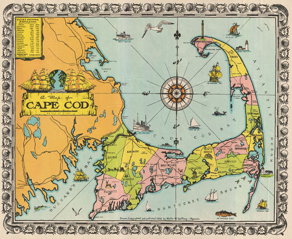 1932 Walter M. Gaffney Map of Cape Cod, Massachusetts