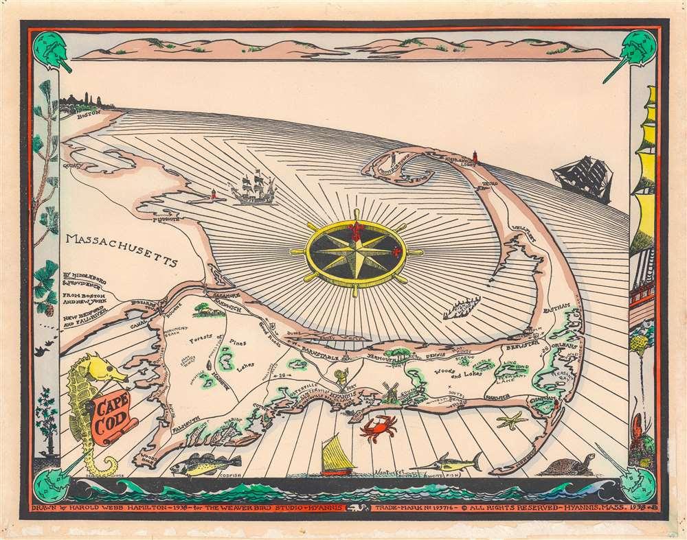 1938 Webb Hamilton Pictorial Map of Florida