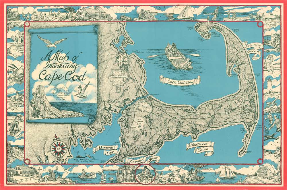 1950 Miller Pictorial Map of Cape Cod, Massachusetts
