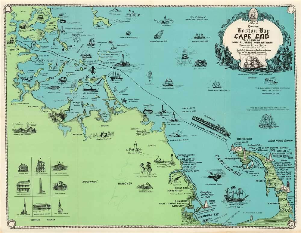 Map of Romantic Boston Bay and Cape Cod The Land Of Our Pilgrim Forefathers. - Main View