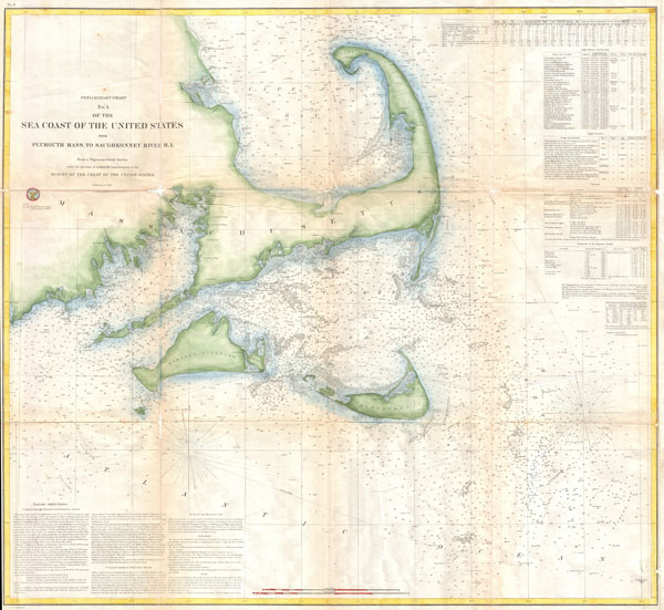 Preliminary Chart No. 4 of the Sea Coast of the United States from Plymouth Mass. To Saughkonnet River R. I. - Main View