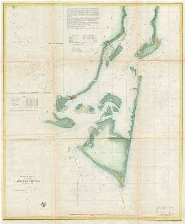 Preliminary Chart of lower part of Cape Fear River North Carolina from a Trigonometrical Survey. - Main View