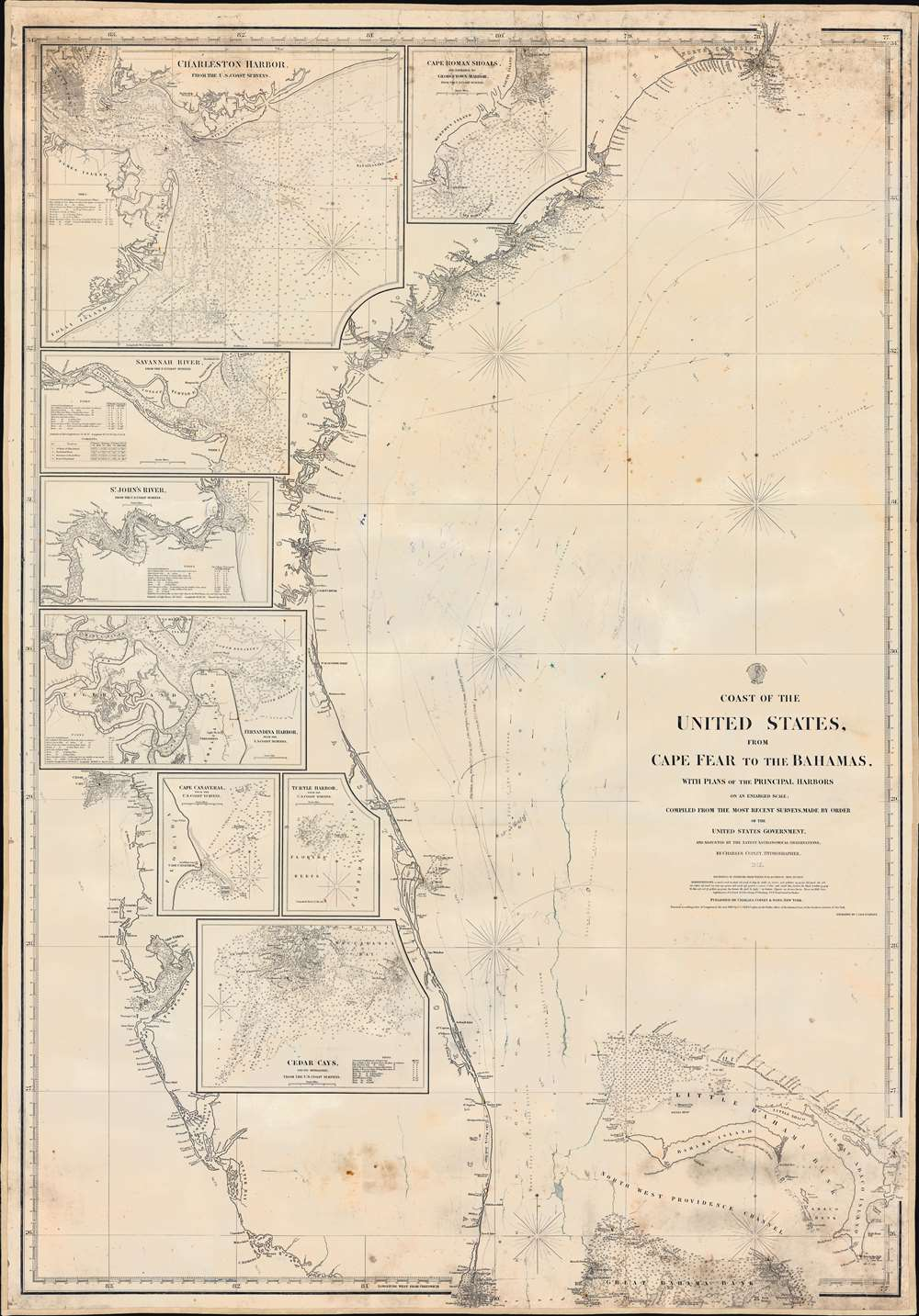 Coast of the United States from Cape Fear to the Bahamas, with plans of the Principal Harbors on an Enlarged Scale; Compiled from the most Recent Surveys, Made by order of the United States Government, and Adjusted by the Latest Astronomical Observations. - Main View