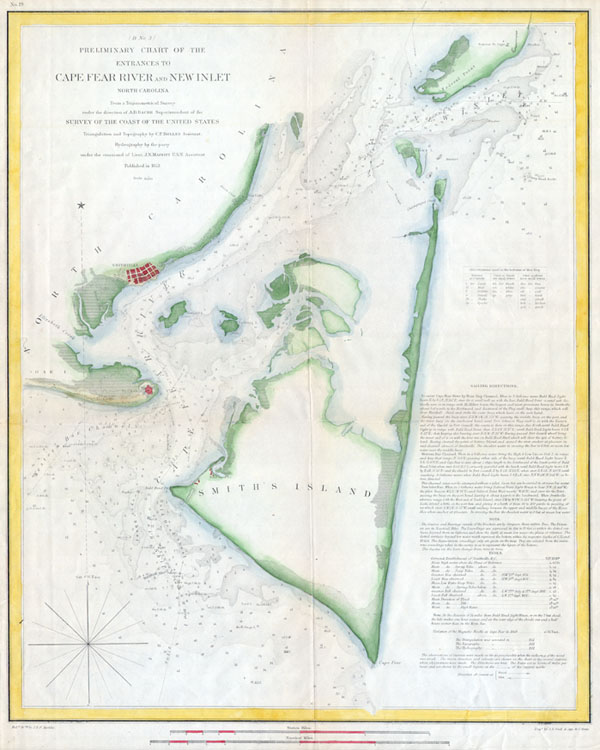 (D No. 3) Preliminary Chart of the Entrances to Cape Fear River and New Inlet North Carolina. - Main View