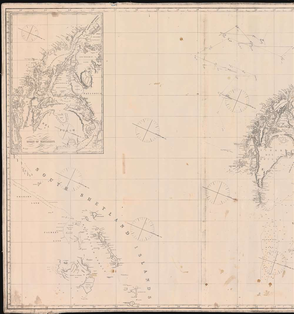 Chart o the East and West Coasts of South America Extending from teh River Platte Round Cape Horn to Valparaiso with Plans of the Principal Harbours. - Alternate View 2