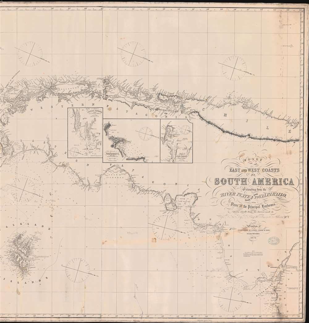 Chart o the East and West Coasts of South America Extending from teh River Platte Round Cape Horn to Valparaiso with Plans of the Principal Harbours. - Alternate View 3