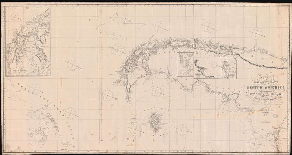 1875 Imray Nautical Chart Map of Cape Horn, the Strait of Magellan, and Patagonia