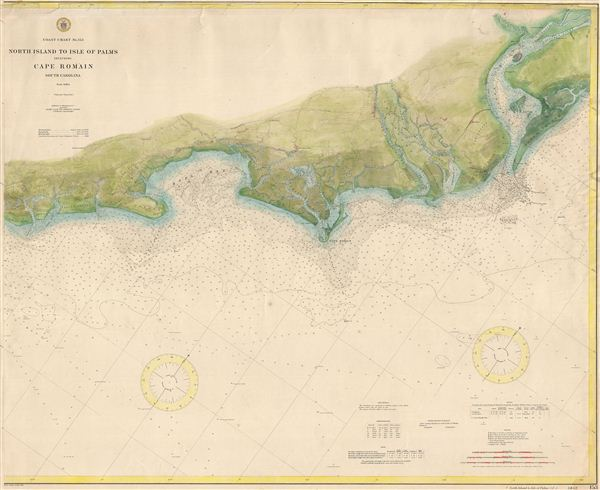 Coast Chart No. 153 North Island to Isle of Palms including Cape Romain South Carolina.