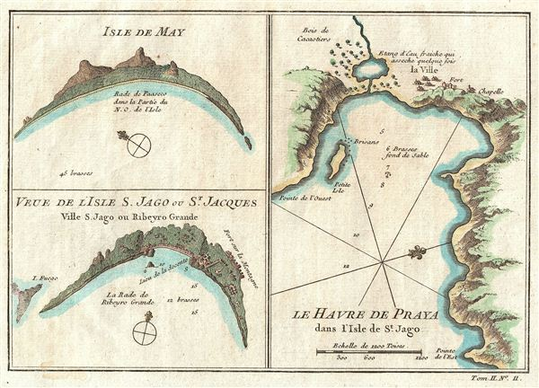 Isle De May, Veue De L'Isle S.  Jago ou St.  Jacques, Le Havre de Praya dans l'Isle de St.  Jago.