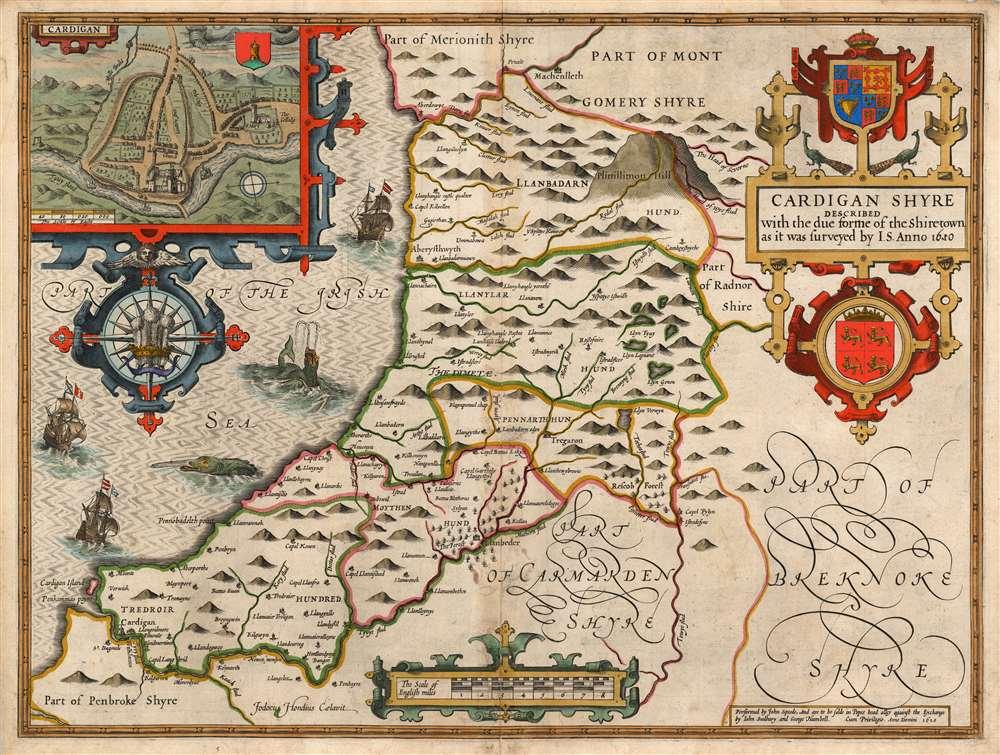 1627 John Speed County Map of Cardiganshire