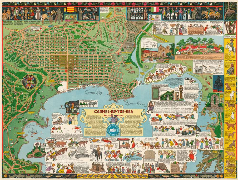 1943 Jo Mora Pictorial Map of Carmel-by-the-Sea, California