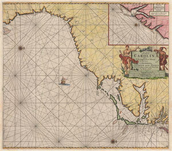 Pas Kaart van de Kust van Carolina tusschen C de Canaveral en C Henry.