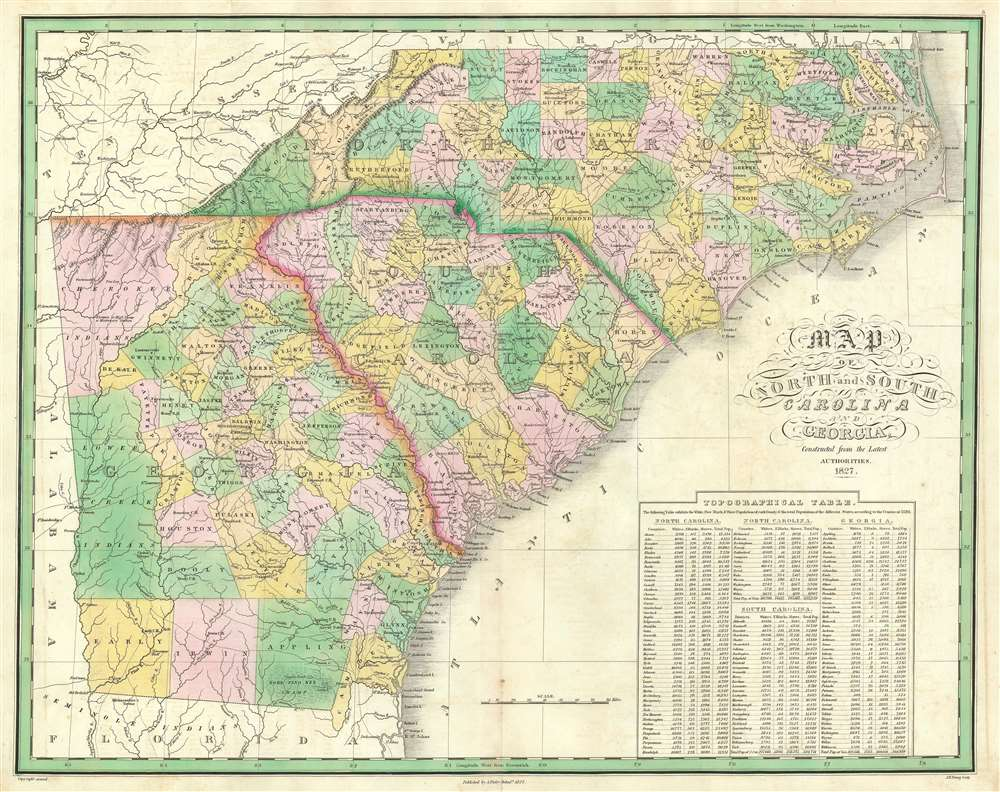 Map of North and South Carolina and Georgia.