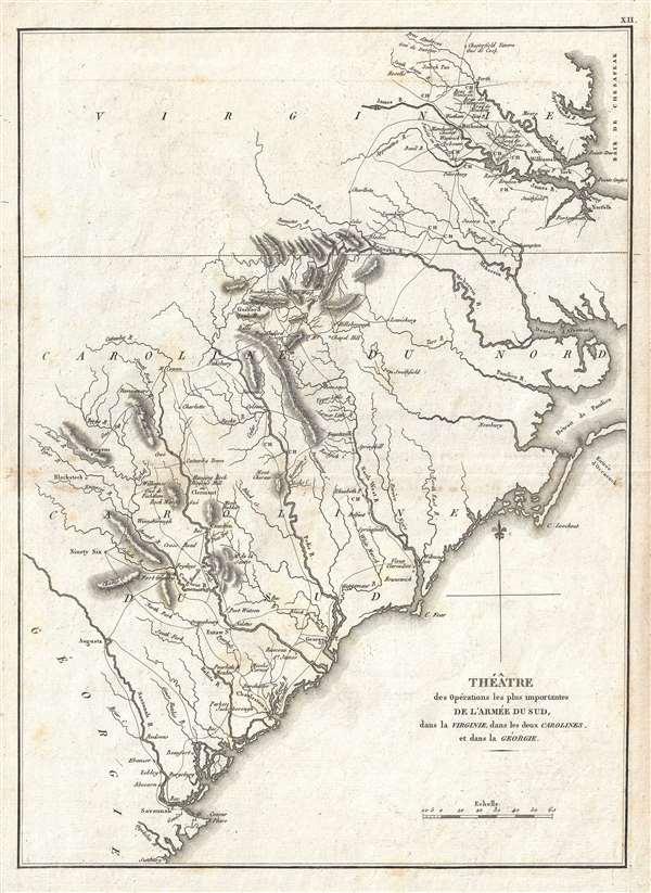 Théâtre des opérations les plus importantes de l'armée du sud, dans la Virginie, dans les deux Carolines, et dans la Géorgie.