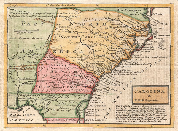 Carolina by H. Moll Geographer. - Main View