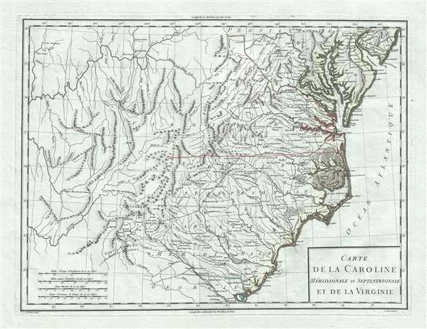 Carte de la Caroline Meridionale et Septentrionale et de la Virginie.