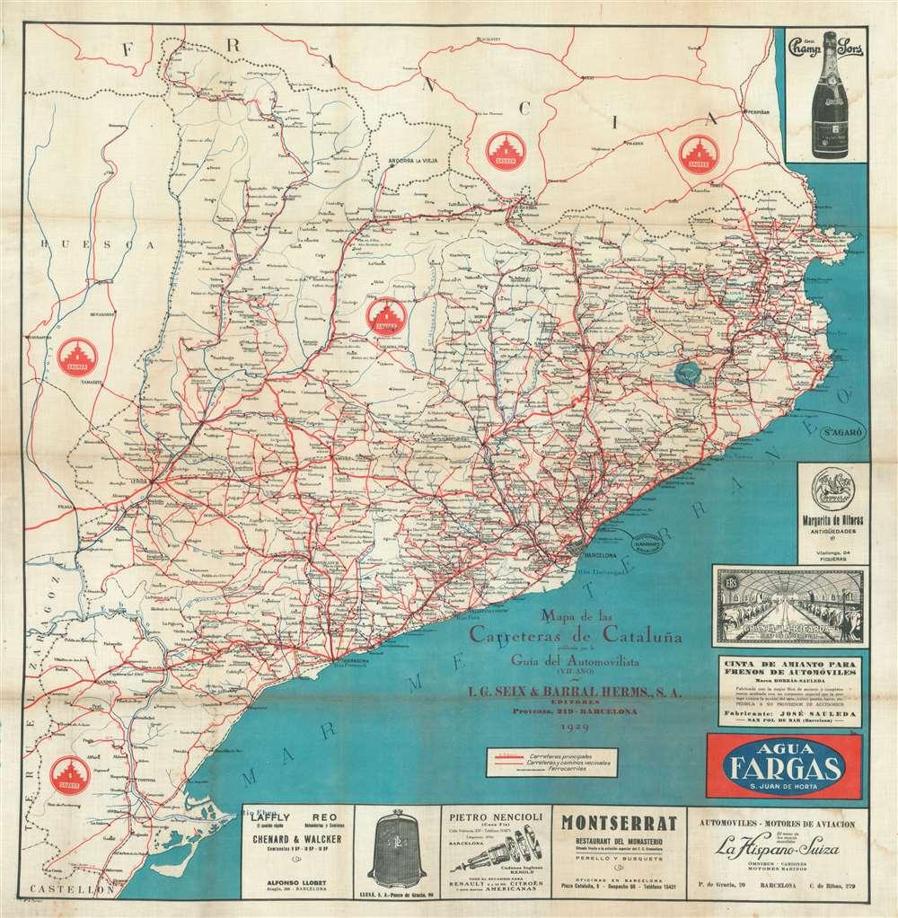 Mapa de las Carreteras de Cataluña publicado por la Guía del Automovilista (VII Año). - Main View