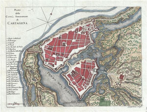 Plano della Citta, e Sobborghi de Cartagena.