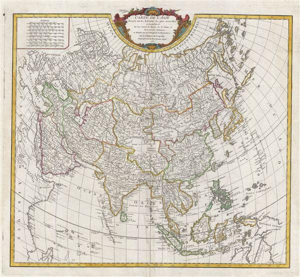 Carte de l'Asie dressee sur les Relations les plus nouvelles, principalement fur les Cartes de Russie, de la Chine, et de la Tatarie Chinoise; et divisee en ses Empires et Royaumes.