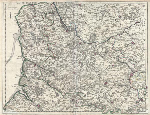 Carte d'Artois et des environs, ou lon voit le Ressort du Conseil Provincial d'Artois.