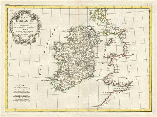 Carte D'Irlande Projelle de assujettie aux Observation Astronomiques.