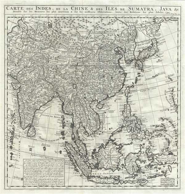 1719 Chatelain Map of East Asia China Korea Japan India East