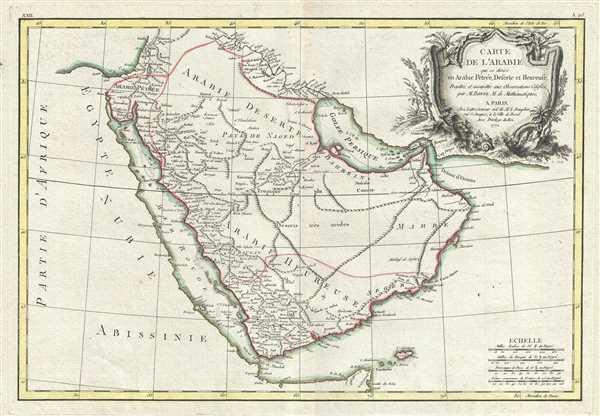 Carte de L'Arabie qui se divise en Arabie Petree, Deserte et Heureuse, Projettee en assujettie aux Observations Celestes.