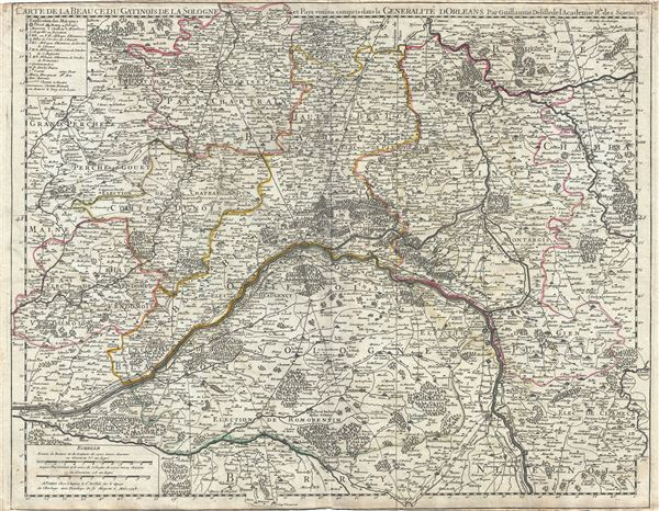 Carte de la Beauce du Gatinois de la Sologne et Pays voisins compris dans la Generalite dOrleans.