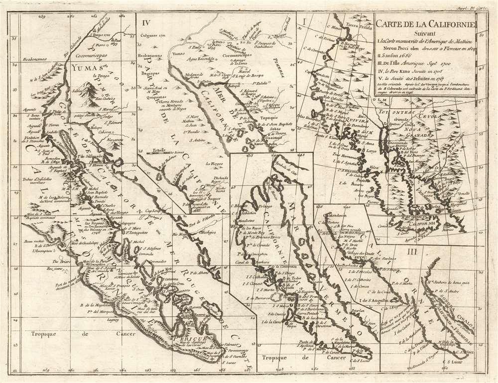 Carte de la Californie suivant I. La carte manuscrite de l'Amerique de Mathieu Neron Pecci olen dresse a Florence en 1604  II. Sanson 1656  III. De L'Isle Amerique Sept. 1700  IV. le Pere Kino Jesuite en 1705  V. La Societe des Jesuites en 1767.