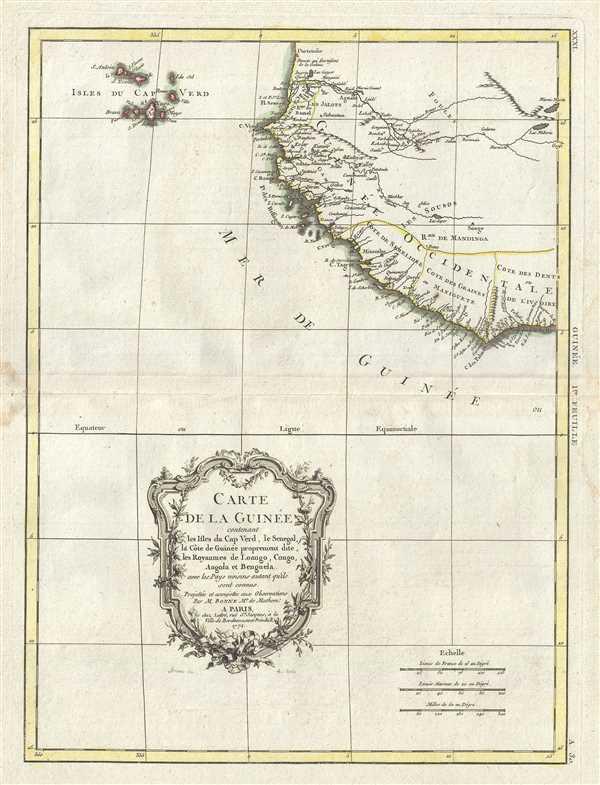 Carte de la Guinee contenant les Isles du Cap Verd, le Senegal, la Cote de Guinee proprement dite, les Royaumes de Loango, Congo, Angola, et Benguela avec les Pays voisins autant qu'ils sont connus.