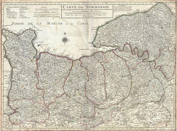 Carte de Normandie ou sont marquez exactement Les Pays ou Contrees enfermees dans cette Province aussi bien que les Villes, Bourgs, Paroisses et autres lieux.