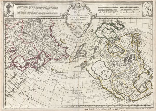 Carte Des Nouvelles Decouvertes au Nord de la Mer de Sud, tant a l'Est de la Syberie et du Kamtchatka, qu'a L'Ouest de la Nouvelle France. - Main View
