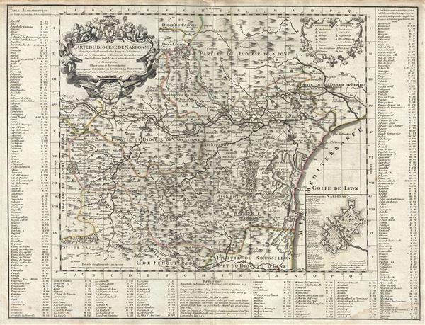Carte du Diocese de Narbonne.