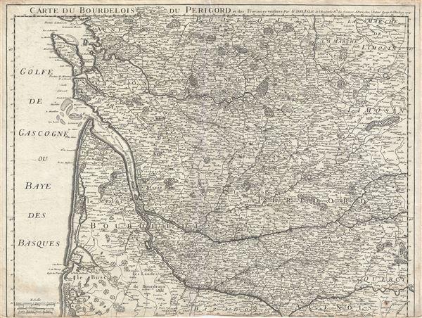 Carte du Bourdelois du Perigord et des Provinces voisines.