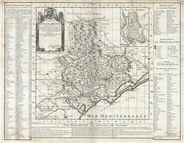 Carte du Diocese de Beziers. - Main View