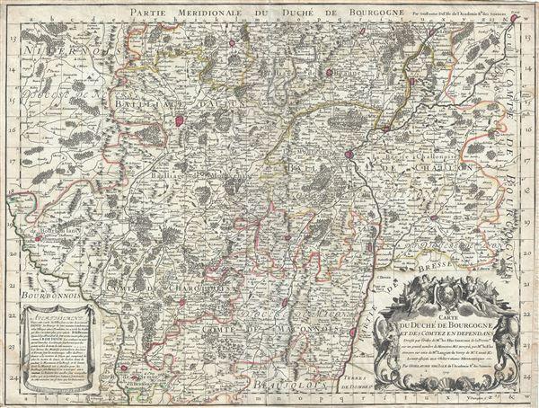 Carte du Duche de Bourgogne et des Comtez en Dependans.