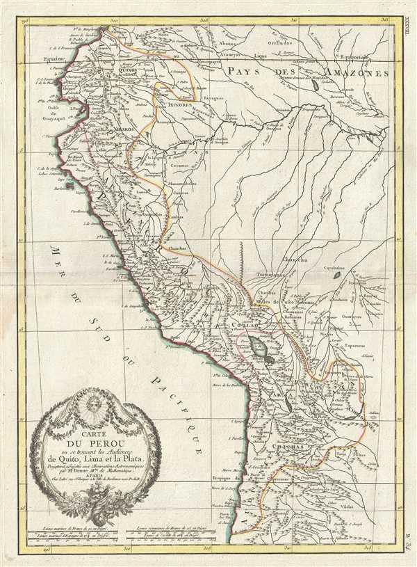 Carte Du Perou ou se trouvent les Audiencees de Quito, Lima et la Plata.