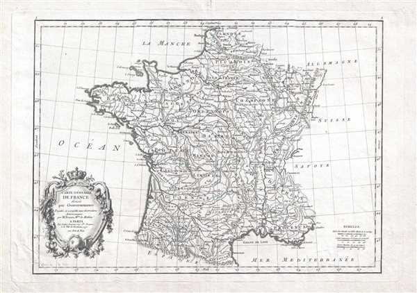 Carte Générale de France divisée par Gouvernements.
