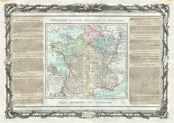 Carte Itineraire et Generale des 18 Feuilles de l'Indicateur De France. - Main View