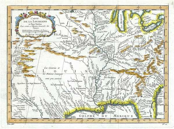 Carte de la Louisiane et Pays Voisins.