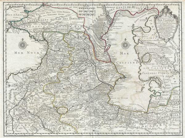 Carte des Pays voisins de la Mer Caspiene.
