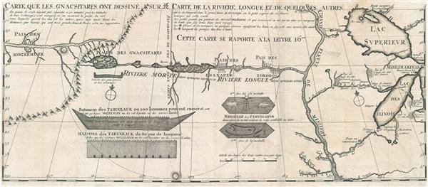 Carte que les Gnacsitares ont Dessine sur / Carte de la Riviere Longue et de quelques Autres qui se Dechargent dans le Grand Fleuve Missisipi.