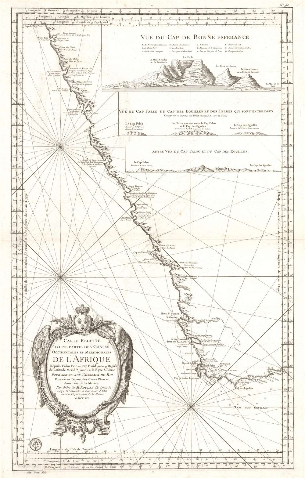 Carte Reduite d'Une partie des Costes Occidentales et Meridionales de L'Afrique Depuis Cabo Frio ou Cap Froid.
