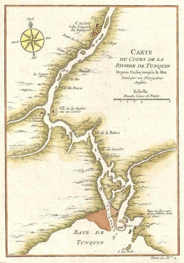 Carte du Cours de la Riviere de Tunquin depuis Cacho jusqu'a la Mer. Levée par un Navigateur Anglois.