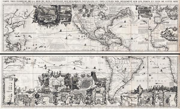 Carte très curieuse de la Mer du Sud, contenant des Remarques Nouvelles et très utiles non seulement sur des Ports et Îles de cette Mer, mais aussy sur les principaux Pays de l'Amerique tant Septentrionale que Méridionale en a été faite.