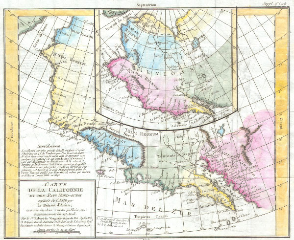 Carte de la Caliofrnie et des pays Nord-ouest separes de l'Asie par Le Detroit d'Anian, extradite de dus Cartes publiees au commencement du 17e Siecle.